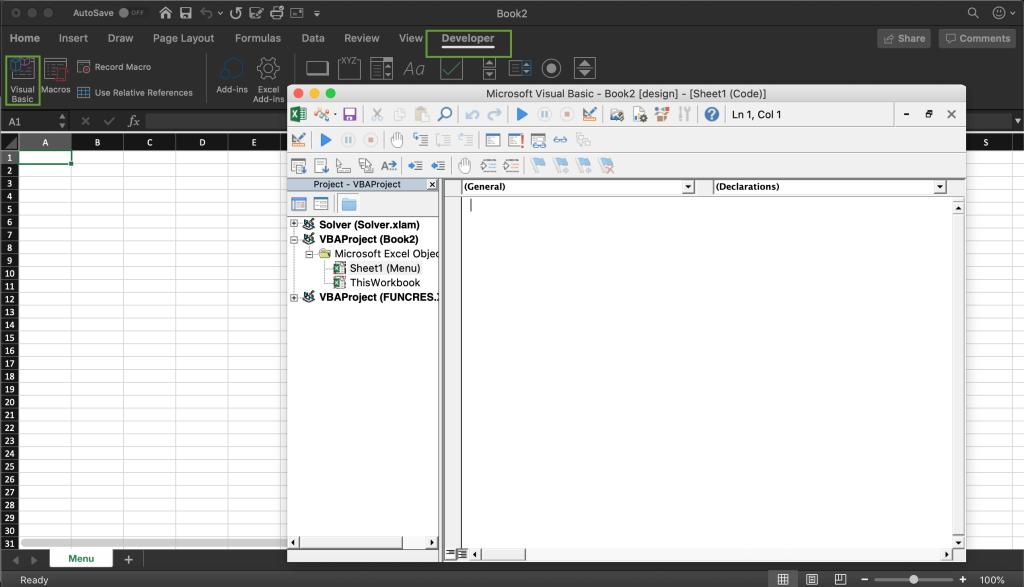 VBA design module code window