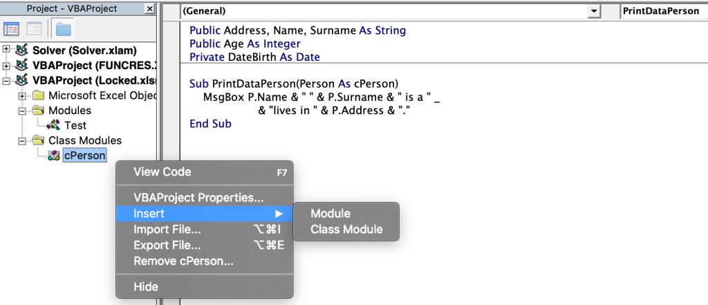 Insert a class module
