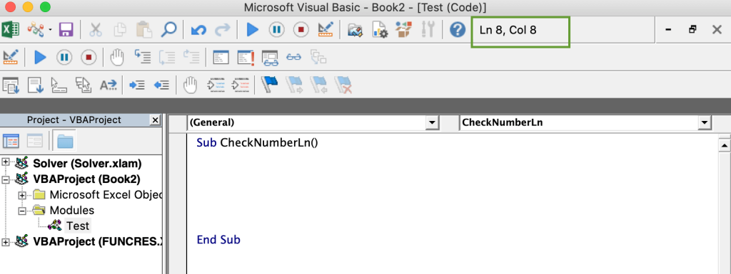Number of the line and column with VBA