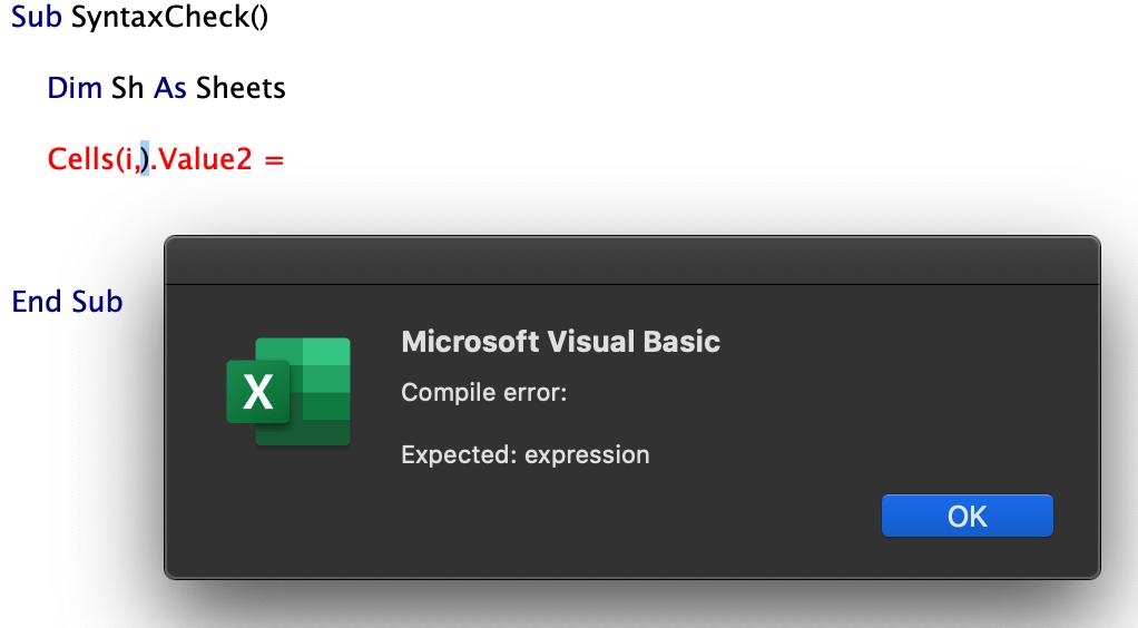 Error auto syntax check