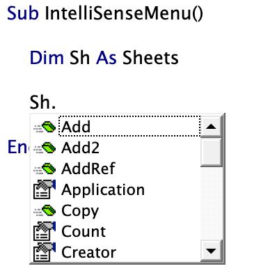 Dropdown list intellisense menu